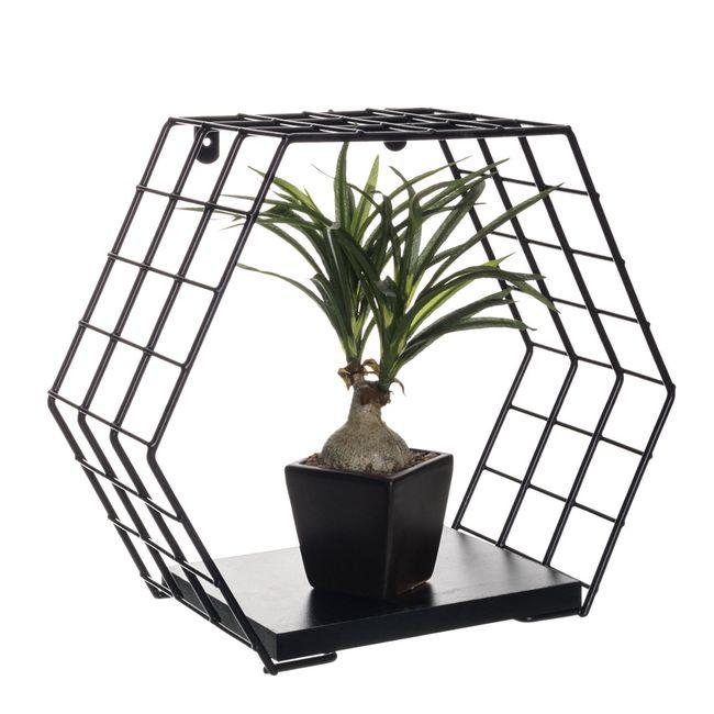 Nicho-decorativo-hexagonal---Linha-Wire---Aramado-com-madeira
