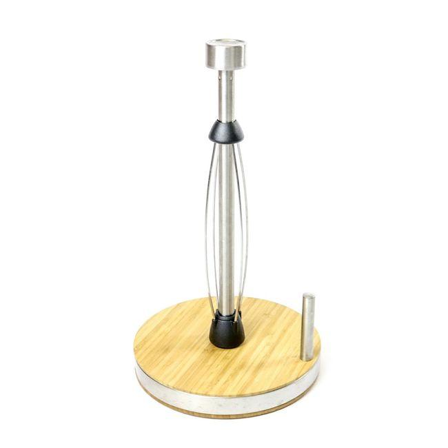 Porta-papel-toalha-gourmet--em--inox-com-base-de-bambu