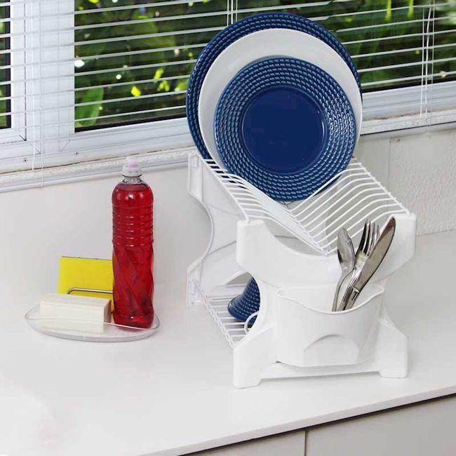 Kit-Escorredor-de-Pratos-com-Organizadores---Escorredor---Porta-Detergente-e-Esponja--